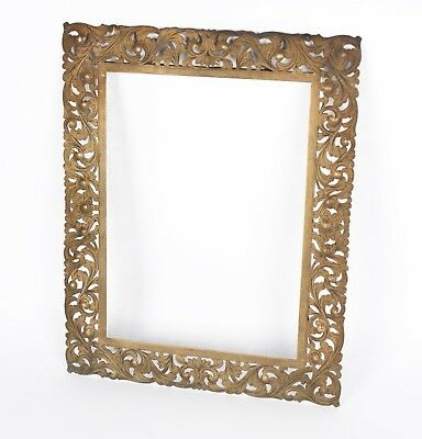 An Antique Indian Brass Floral Decorated Picture Frame 9.26 x 6.9