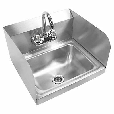 Gridmann Commercial NSF Stainless Steel Sink with Faucet & Sidesplashes Wall