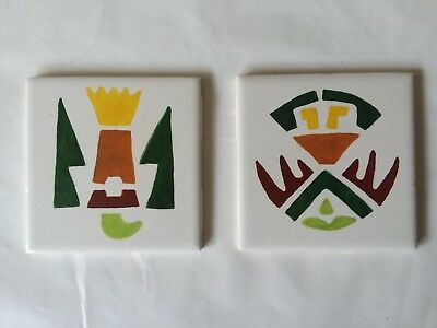 Set of 2 Hand Painted Ceramic Tiles Aztec Mexican Spanish Decor Look