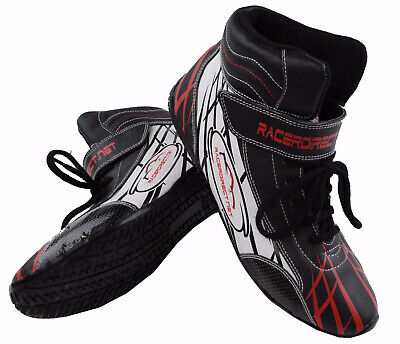Junior Dragster Racing Shoes Black  Red  White Sfi 3.3/5 Racerdirect Size 1