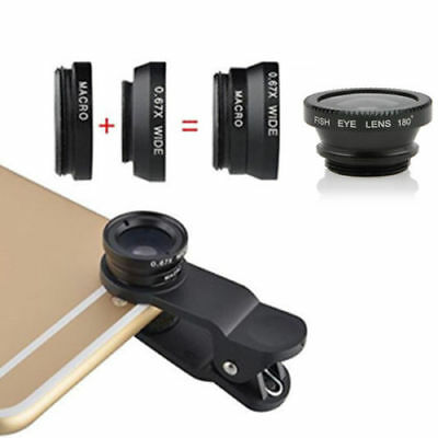 Fish Eye Wide Angle Micro Camera Lens Phone 3 in 1 Kit for iPhone 5G 4S Samsung