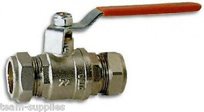 ** Red Lever Action Ball Valve 15Mm Full Bore Compression Water Isolation **