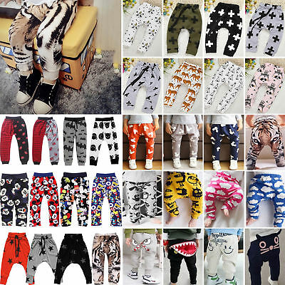 Kids Boys Girls Elastic PP Harem Sweat Pants Toddler Slacks Trousers Leggings