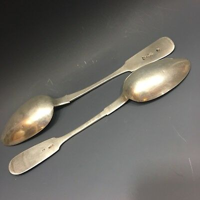 2 Large Antique Russian 84 Silver Soup Spoons