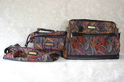Jordache 3 piece soft luggage Leaf tapestry baggage set lot of 3 zippered bags