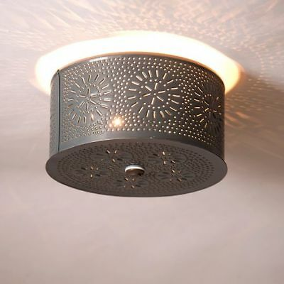 Country Primitive Farmhouse Round Punched Tin Ceiling Light In