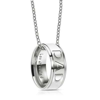Love You Dad Stainless Steel Necklace For Father Day Gifts From Daughter And Son
