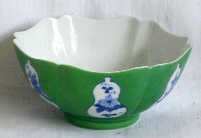 Japanese Six Sided Green Ground Bowl With Picture Panels