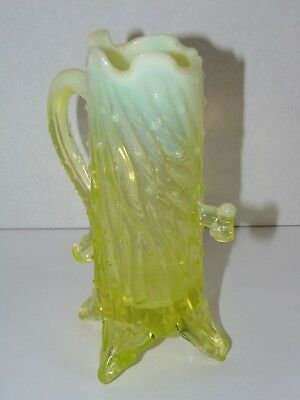 1900s Northwood Town Pump Opalescent Vaseline Glass Vase Uranium