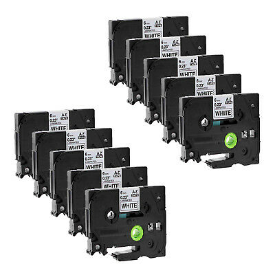 10PK Black on White Label Tape TZ TZe-211 0.24'' for Brother P-touch printer 6mm