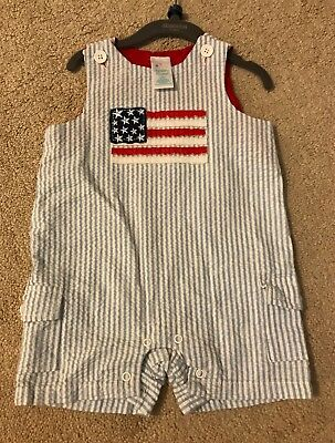 Nursery Rhyme 4th of July Flag Outfit - Little Boys - 3/6 months pinstripes