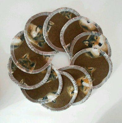 Cloth Nursing Pads Reusable Flannel 5 Pairs 10 Total Wolves Brown Makeup Remover