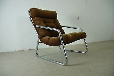 Stahlrohr Lounge Sessel Clubsessel Cord  70er Jahre