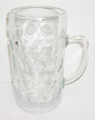 Vintage 1 Liter German Clear Glass Beer Mug Stein Dimple Pattern MADE IN GERMANY