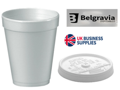 7oz, 10oz or 12oz WHITE FOAM POLYSTYRENE HOT TEA or COFFEE DISPOSABLE CUPS