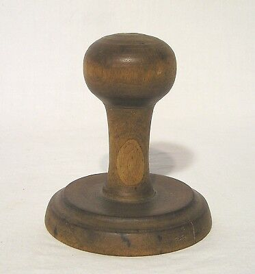 """Antique Hand Carved Wooden Pineapple Pattern Butter Stamp Lg. Handle Knob 4"""" H."""