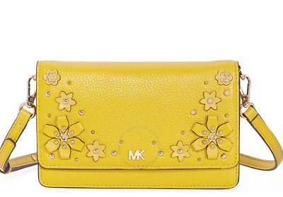 743f35cc5 ... new michael kors sunflower phone crossbody leather yellow bag  embellished ...