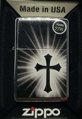 Zippo Full Size High Polish Chrome Cross Image Classic Windproof Lighter 29074