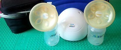 Avent electric double breast pump by Philips comes with lots of accessories