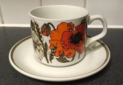 Studio J & G Meakin Poppy ,Vintage Retro 70s cup and saucer