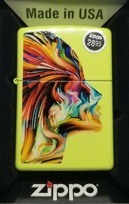 Zippo 29083 Full Size Neon Yellow Colorful Head Face Classic Windproof Lighter
