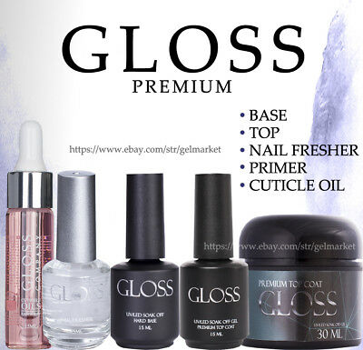 GLOSS premium Gel Nail Polish Top Coat Base No Sticky Matte like ORIGINAL