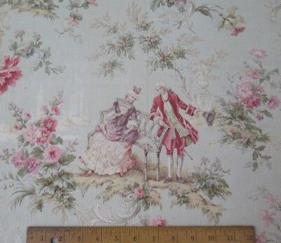 """Antique 19thC French """"Marie Antoinette"""" Style Toile Cotton Yardage~3yds4""""LX31""""W"""