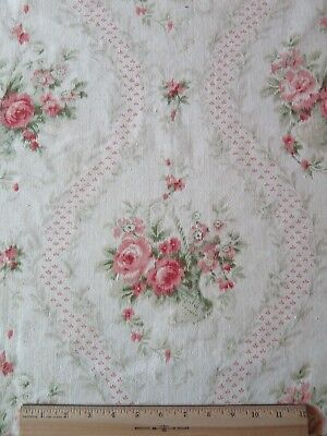 French Antique c1880 Baskets, Pink Roses & Bows Romantic Printed Cotton Fabric