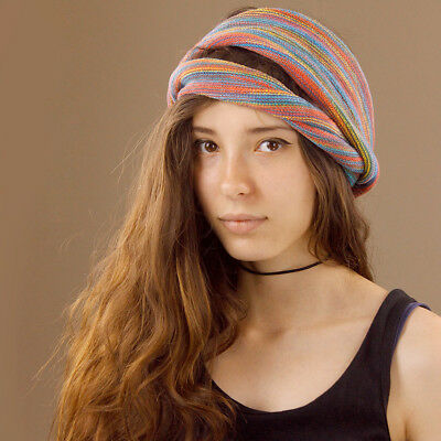 Thick Cotton Wide Rainbow Headband Hair Band Stretch Dreads Girl Boy Hippy Boho
