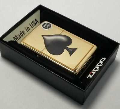 Zippo 29094 Windproof Lighter With Ace Of Spades Design spade polished Brass New