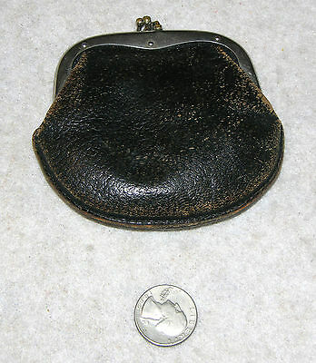Vintage Black Textured Leather Change Purse with 2 Compartments & Metal Hardware