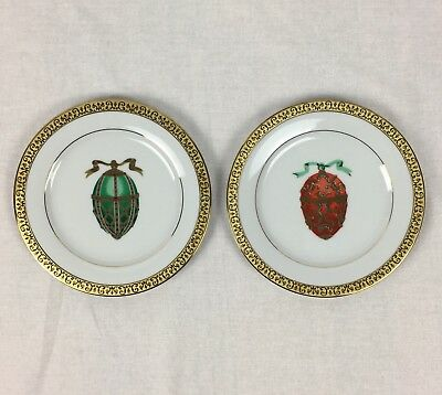 2 Faberge Gold Buffet Royal Gallery Egg Plates Green Red Gold Round 8 3/8""