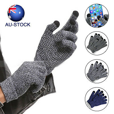 AU-STOCK Winter Warmer Touchscreen Gloves for Women Men Knit Wool Lined Texting