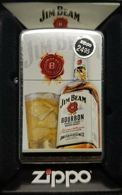 Zippo Windproof Lighter With Jim Beam Bourbon Bottle & Logo, 29124, New In Box