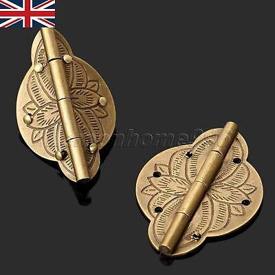 2Pcs Brass Hardware Wooden Jewelry Box Case Chest Hinge Cabinet Cupboard UK