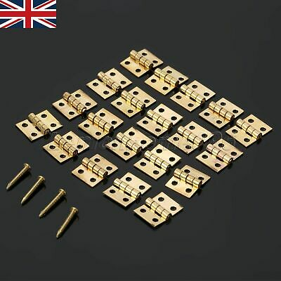 20Pcs UK Mini Brass Hinges For Jewelry Box Door Chest Case With 80Pcs Nails