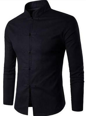 Men Shirt Cotton Chinese Tradition Style Long Sleeve Casual Shirt XXL
