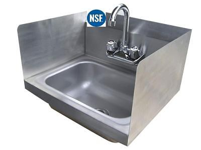 "Stainless Steel Hand Sink with Side Splash - NSF - Commercial Equipment 16"" X"