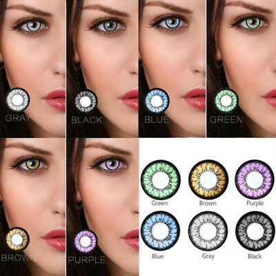 1 Pair Colored Contact Lenses Women Cosmetic Charming Eye Makeup Tool Commode