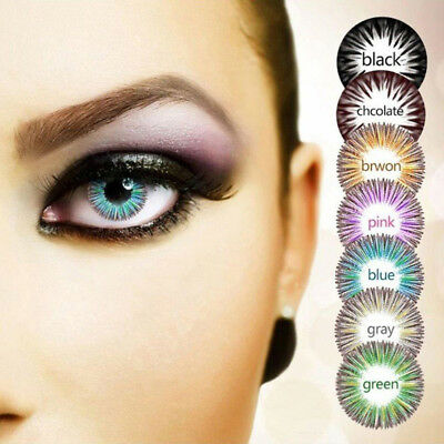 2Pcs Cosmetic Contact Lenses Circle 0 Degree Party Women Yearly Use Eyewear Con