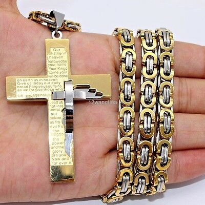 6mm Gold Silver Byzantine Box Mens Chain Stainless Steel Cross Pendant Necklace