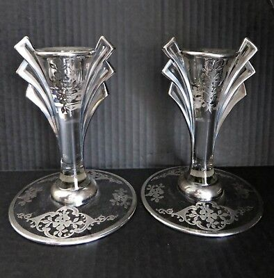 Antiqu Art Deco Nouveau Glass Sterling Silver Overlay Candleholders Candlesticks