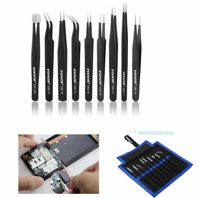 9PCS PIXNOR Professional Premium Anti-static ESD Stainless Steel Tweezers Set  D