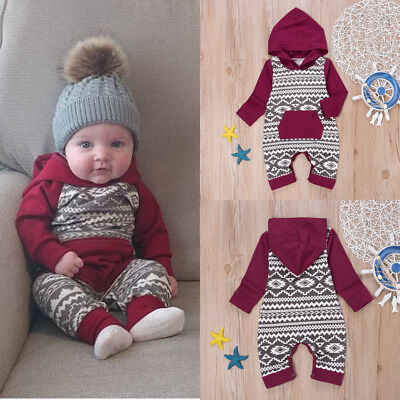 US Newborn Infant Baby Boys Girls Romper Hooded Jumpsuit Bodysuit Clothes Outfit