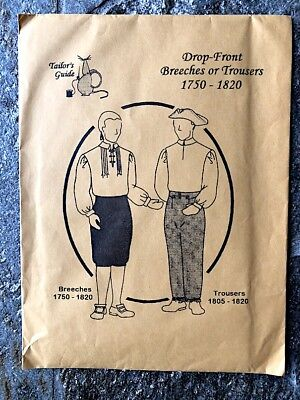 Historical Costume Sewing Pattern Men's Drop Front Breeches or Trousers Colonial