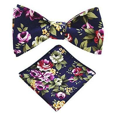 JEMYGINS Cotton Floral Self Tie Bow Tie and Pocket Square Set for Men (23)