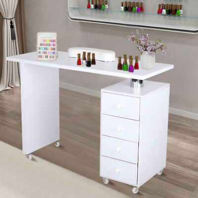 Mobile Manicure Table Nail Beauty Tattoo Tech Work Station with Drawers Storage