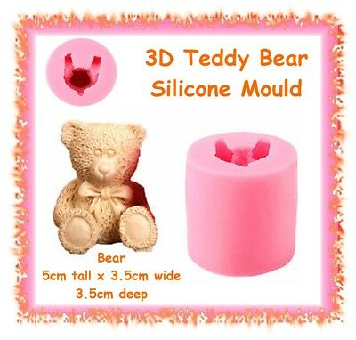 3D teddy bear silicone mould - cake fondant clay cupcake topper baby soap