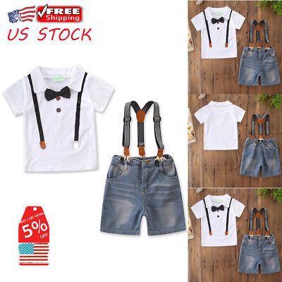 Gentleman Toddler Kids Baby Boy Bow T-shirt Tops+Jean Pants Outfit Clothes Set