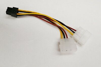 2x Molex 4 pin to PCI-E 6 PIN Male Power Converter adaptor for Video GPU power